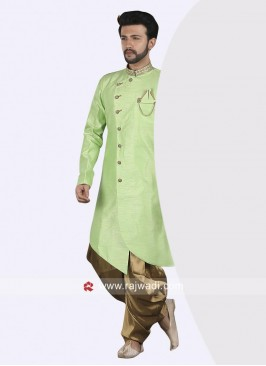 Plain Pista Green Color Indo Western With Stylish Buttons