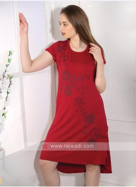 Maroon color short nighty