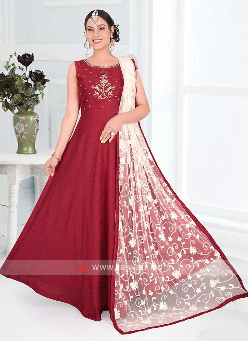 Maroon Color Silk Anarkali Suit