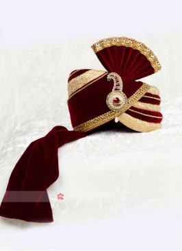 Maroon And Golden Color Velvet Safa For Marriage