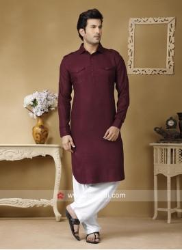 Maroon Cotton Fabric Pathani Set