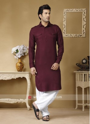 Maroon Cotton Fabric Pathani Set