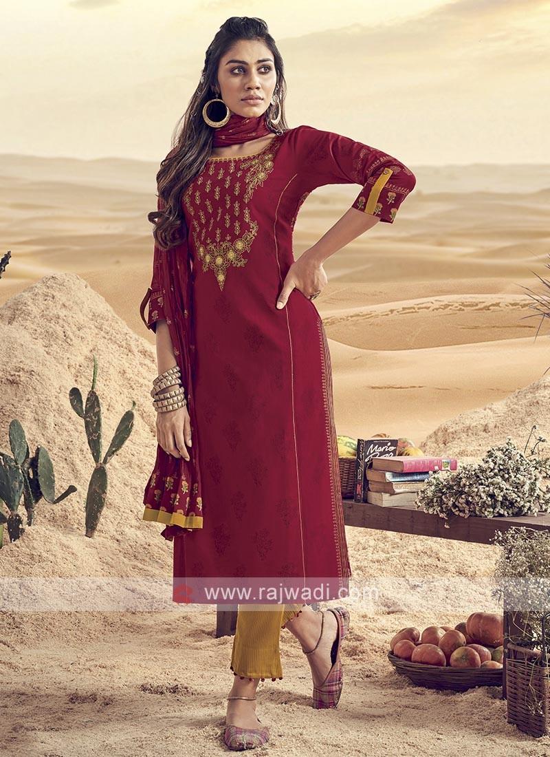 Shagufta Maroon Cotton Pant Salwar Suit