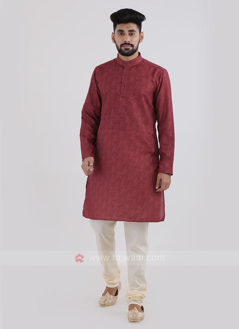 Maroon Cotton Silk Kurta Pajama