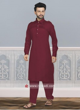 Maroon Cotton Silk Pathani Set