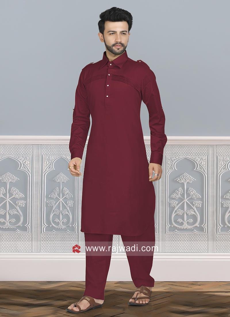 Maroon Cotton Silk Pathani Set