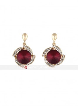 Maroon Crystal Metal Earrings