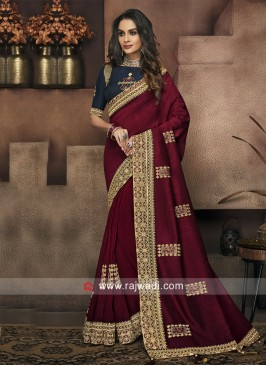 Maroon Designer Saree with Navy Blue Blouse