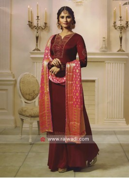 Maroon Embroidered Palazzo Salwar Suit