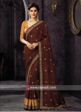 Maroon Embroidered Tassels Saree