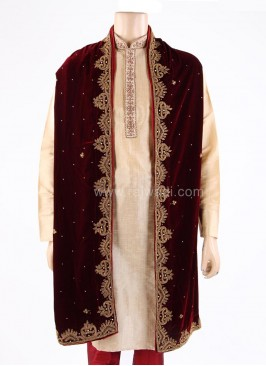 Maroon Embroidered Wedding Dupatta