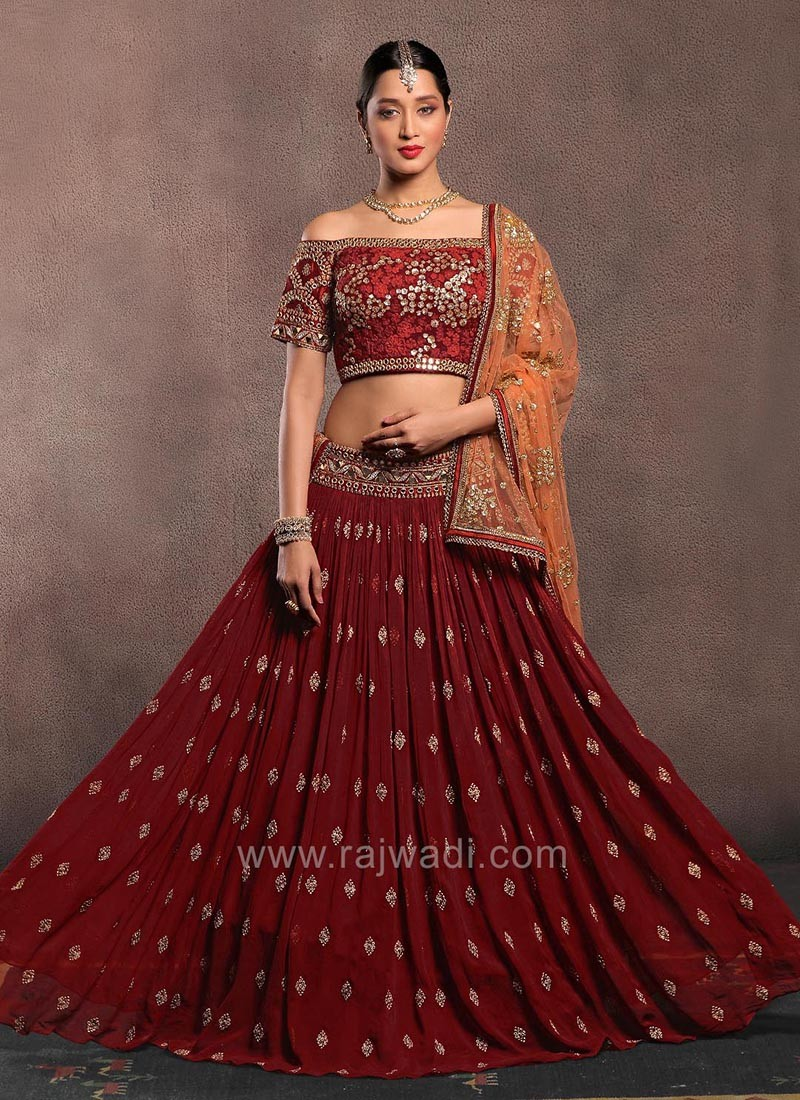 Maroon Flared Lehenga with Off Shoulder Choli and Dupatta