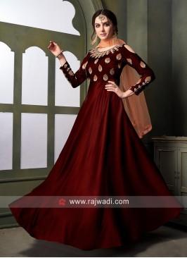 Maroon Floor Length Anarkali Salwar Kameez