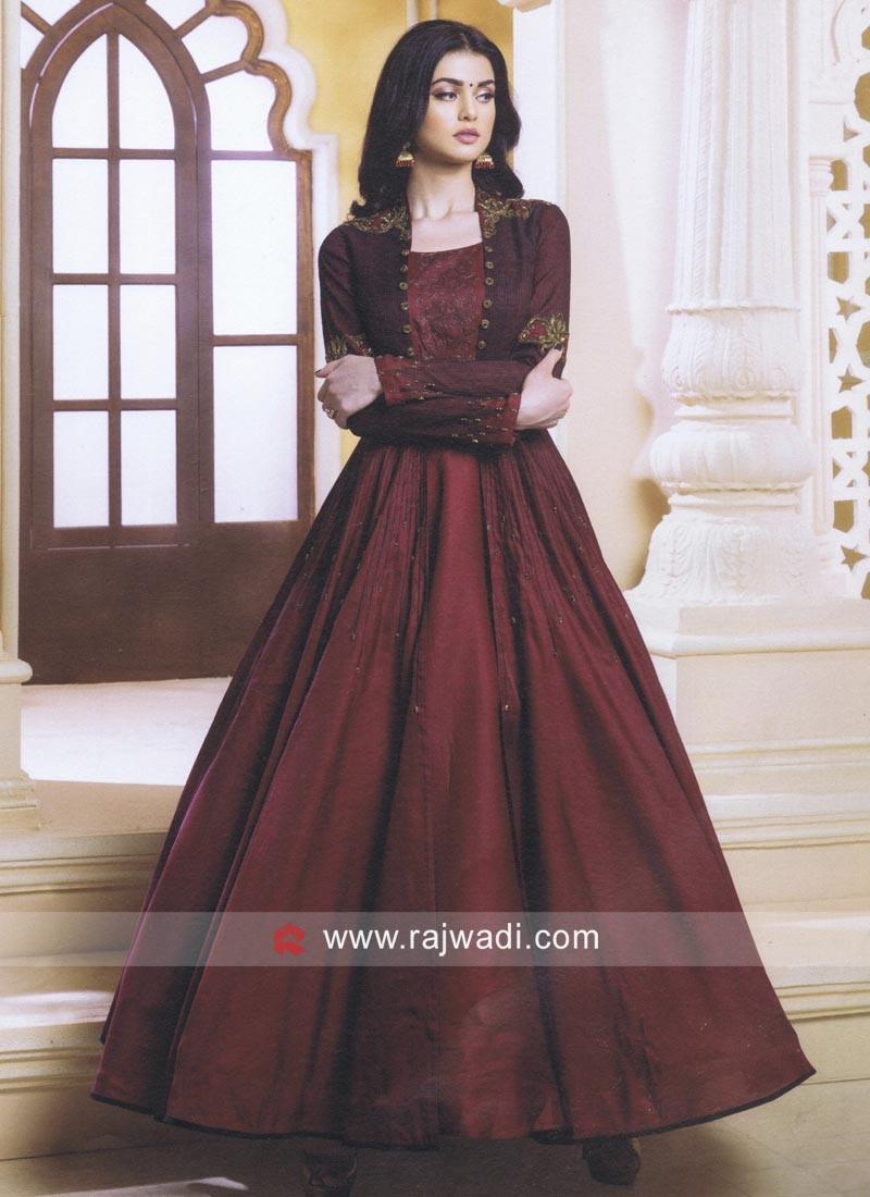 Maroon Floor Length Jacket Style Anarkali Suit