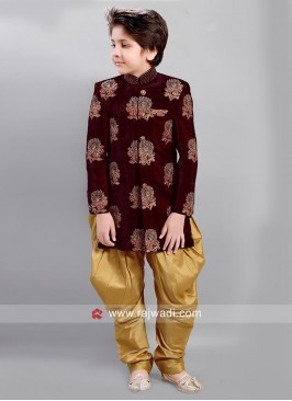 Maroon Flower Work Indo Western for Kids