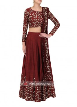 Maroon Flower Work Lehenga Choli