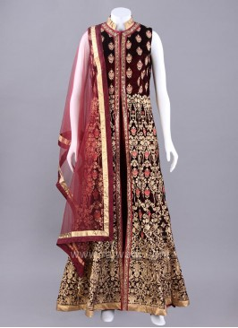 Maroon Front Open Slit Embroidered Anarkali Dress