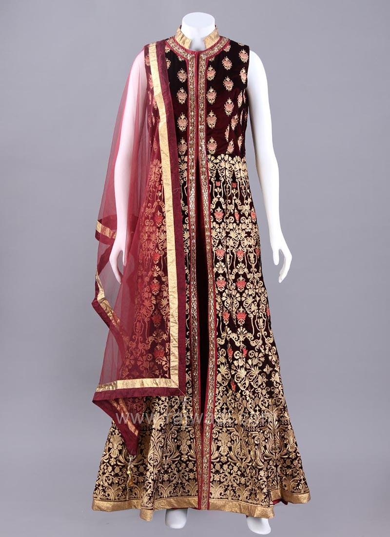 Maroon Front Open Slit Embroidered Anarkali Dress
