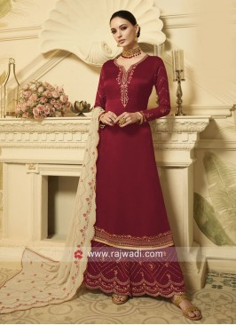 Maroon Georgette Satin Palazzo Suit