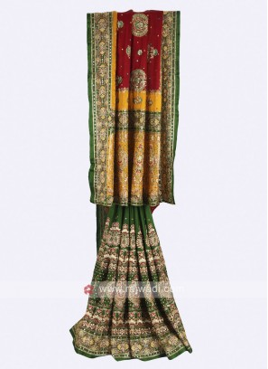 Maroon, green and mustard yellow gajji silk saree