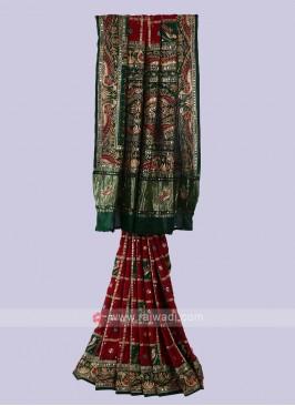 Maroon & Green Gharchola Style Saree