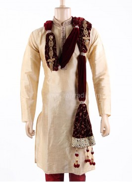 Maroon Groom Dupatta with Latkan