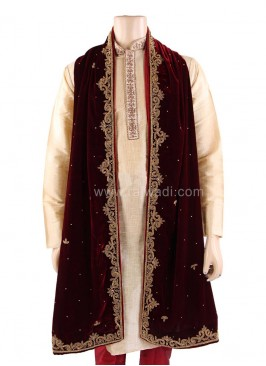 Maroon Groom Dupatta with Stone Work