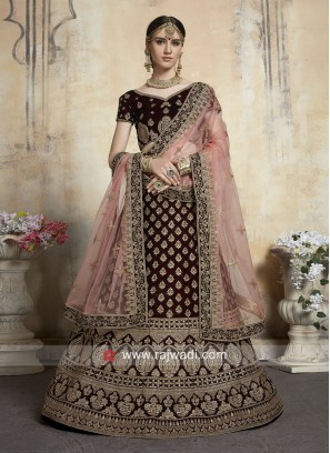 Maroon Lehenga Set with Light Peach Dupatta