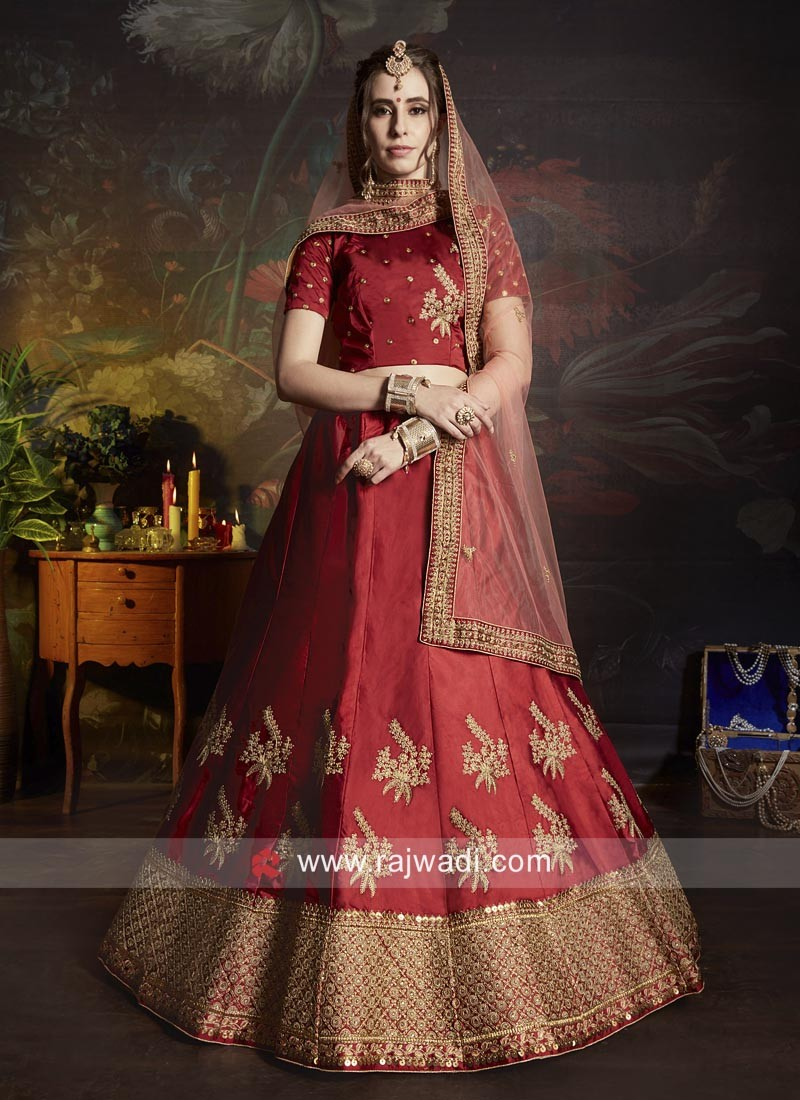 Maroon Heavy Work Bridal Lehenga Choli