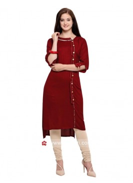 Maroon High Low Kurti