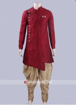 Maroon Jute Silk Patiala Suit