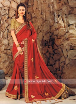 Maroon Lace Border Work Saree