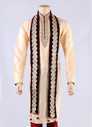 Maroon Lace Work Groom Dupatta
