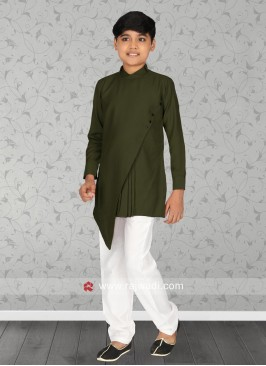 Olive Layered Kurta Set