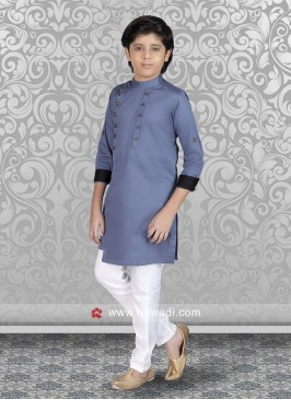 Light Steel Blue Color Kurta Set