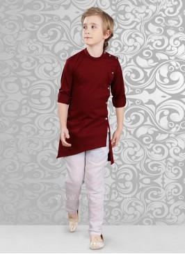 Maroon Layered Kurta With Bottom