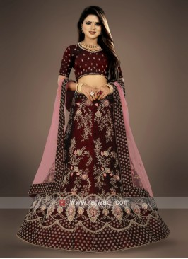 maroon Lehenga Choli with peach dupatta