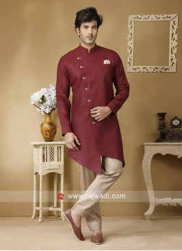 Maroon Linen Fabric Pathani Set