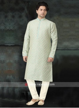 Liril Green Cotton Silk Kurta Pajama