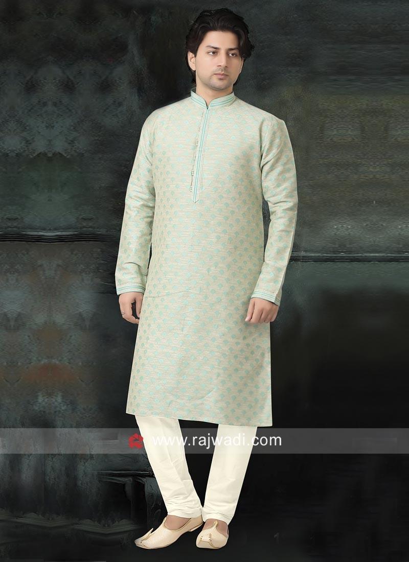 Liril Green Cotton Silk Kurta Pajama