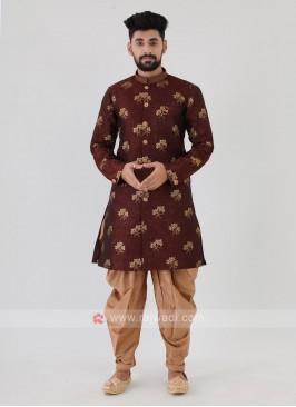 Maroon Mens Indo-Western