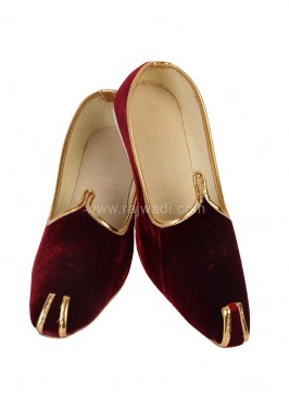 Maroon Mojari with Piping
