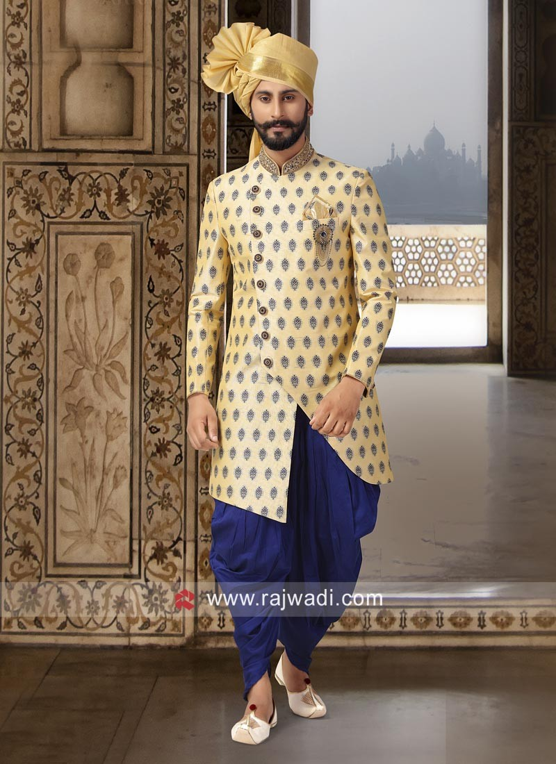 Golden Yellow Color Indo Western For Wedding