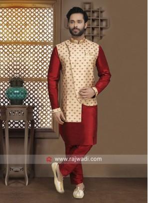 Maroon Nehru Jacket For Sangeet