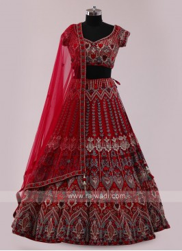Maroon Net Choli Suit