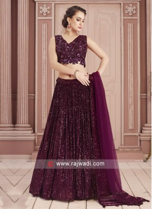 Maroon Net Fabric Choli Suit For Party