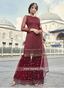 Maroon Net Fabric Salwar Kameez