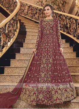 Maroon Net Heavy Anarkali Suit with Dupatta