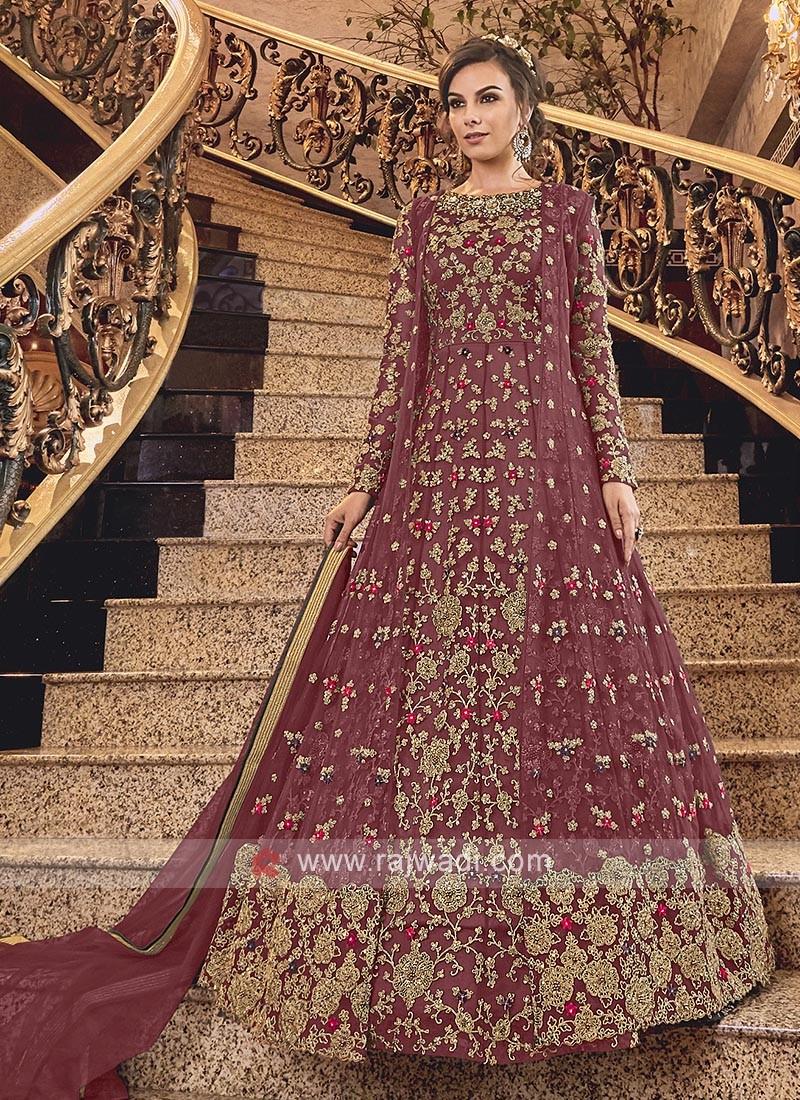 Maroon Net Heavy Anarkali Suit with Dupatta