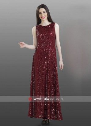 Maroon Party Wear Floor Length Kurti